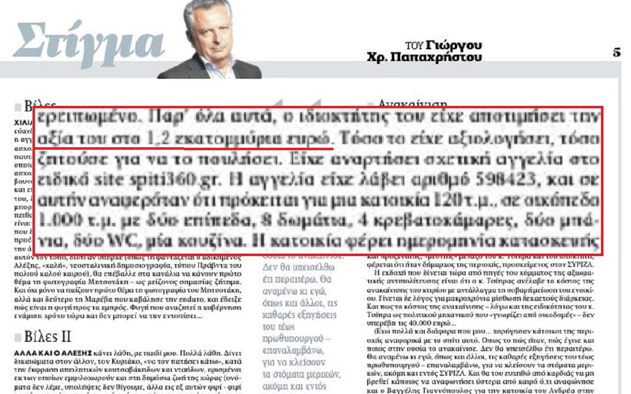 Γιώργος Παπαχρήστος: Δεν έγραψα για βίλα Τσίπρα 1 εκατομμυρίου… ήταν άλλος Γιώργος Παπαχρήστος στα ΝΕΑ (Βίντεο)