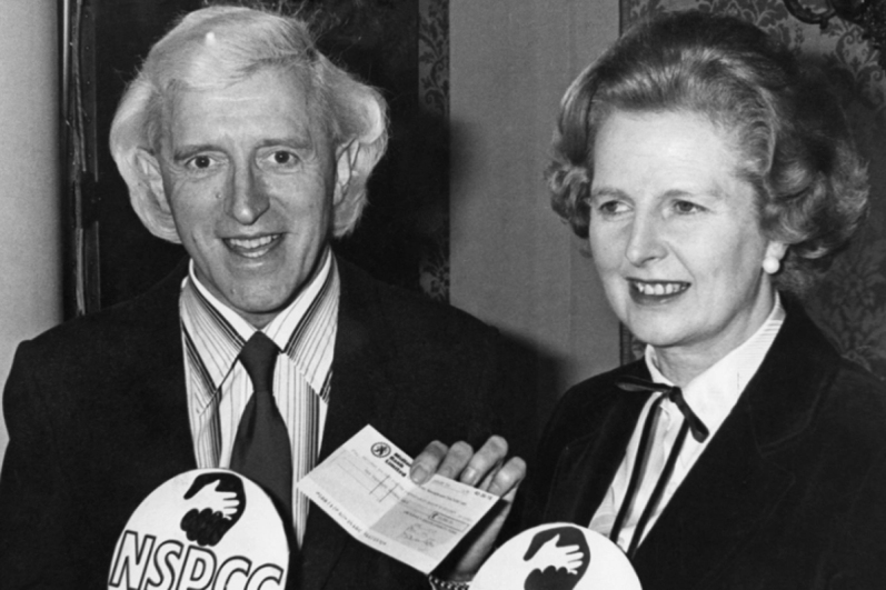 Prime Minister Margaret Thatcher pushed for a knighthood for serial child sex abuser Jimmy Savile, seen here together at a 1980 fundraising event for the National Society for the Prevention of Cruelty to Children