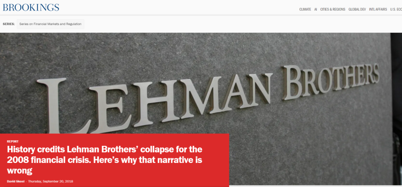 History credits Lehman Brothers' collapse for the 2008 financial crisis. Here's why that narrative is wrong