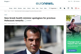 Greece's new health minister has apologised for past remarks about the Holocaust. The Greek Jewish Community had complained about comments made by Thanos Plevris when he was defending his far-right father in court.