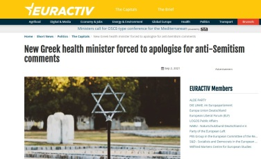 New Greek health minister forced to apologise for anti-Semitism comments